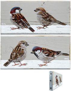 Fonny van Raaijen, Mussen 5 en 6, Acryl op oud hout, 8x16 cm per stuk, €.115,-