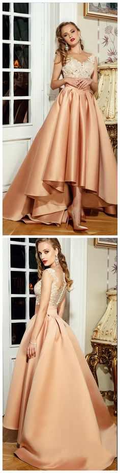 Champagne Dresses, V Neck Evening Dresses, Lace Appliques Dresses, High Front and Low Back Dresses, Satin Dress