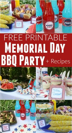 This Printable Memorial Day BBQ Party is FREE! It has Drink Wraps, Paper for Hot… This Printable Memorial Day BBQ Party is FREE! It has Drink Wraps, Paper for Hot Dog Wraps, and Tented Cards to label your recipes! Grab them today! Memorial Day Foods, Memorial Weekend, Memorial Day Dessert Ideas, Memorial Day Decorations, Bbq Party, Labor Day Crafts, Bbq Decorations, Memorial Day Celebrations, Hot Dog Bar