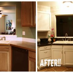 Painted COUNTERTOPS!! Super durable, no chipping, and still looks brand new one year later.