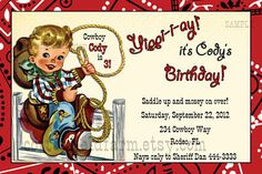 Retro Cowboy Party Invitation Little Cowboy On Fence With Rope Personalized Digital Sheet C-360