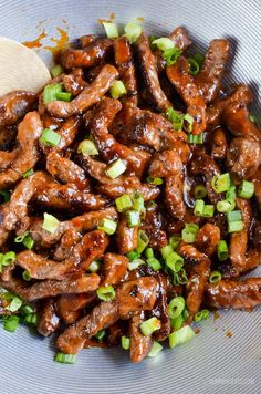 sweet chilli beef in wok