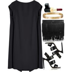 A fashion look from December 2014 featuring knee-length dresses, high heel shoes y black purse. Browse and shop related looks.