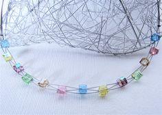 Halsreife - JuniSorbet Kette Kristallwürfel in pastel  - ein Designerstück von luluchic bei DaWanda
