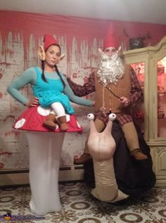 Natalie: My boyfriend and I spent all day creating our gnome costumes, but with a little spin. We look like we're sitting on things! Supported buy 2 homemade hoop skirts, we...