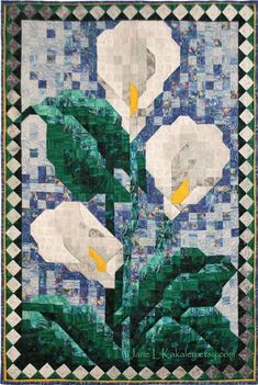 mosaic quilts | PDF Quilt Pattern - Calla Lily Mosaic Art Quilt Pattern - Immediate ...