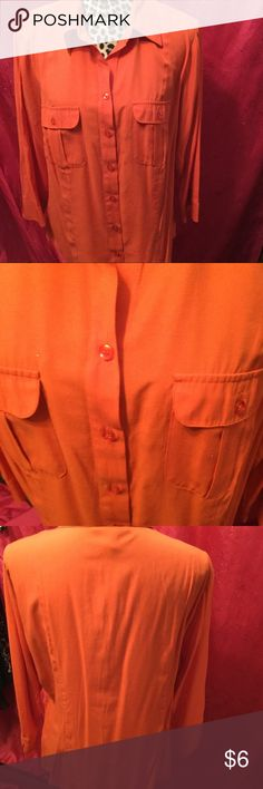 Dress arm Orange Long Sleeve Shirt Size 14/16w This is button down Shirt with pockets on the front.  I wore it for holidays and San Francisco Giants Days. Light wear. Worn underneath a suit. Dress Barn Tops Button Down Shirts