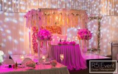 Head Table With Lots Of Wisteria Roses Hydrangeas Flower Wall Candles Lighting And Draping By Corporate Events Decoration Wedding Decorations Event Decor