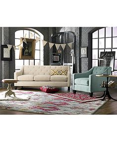 Chloe Fabric Velvet Metro Sofa Living Room Furniture Collection - Living Room Furniture - furniture - Macy's