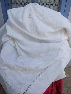 Fantastic French Vintage Fine Linen Trousseau by JacquelineMcEwan, €225.00