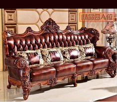 high quality European antique living room sofa furniture genuine leather set 1068 1 Building Furniture, Sofa Furniture, Furniture Manufacturers, Furniture Companies, Antique Living Rooms, Leather Sofa Set, Living Room Sofa, Accent Chairs, Antiques