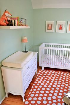 coral and mint baby nursery babyletto crib