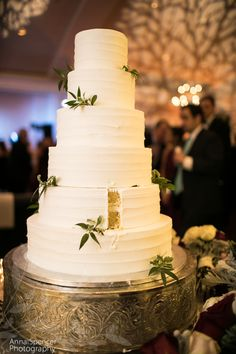 White wedding cake with branchy gobo in the background