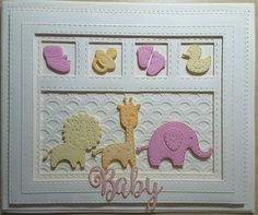 Shadow box collection scalloped lattice frames set b, shadow box collection new arrival and stuffed animals and little treasures all from Sue Wilson's New Arrival Collection First Birthday Cards, Spellbinders Cards, New Baby Cards, Baby Scrapbook, Card Tags, Cool Cards, Kids Cards, Shadow Box, Cardmaking
