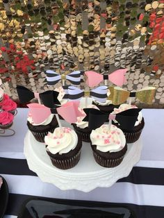 The cupcakes at this Kate Spade Birthday Party decorated with bows are adorable!! See more party ideas and share yours at CatchMyParty.com