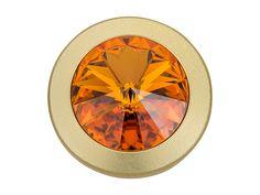 Swarovski 1791120 17mm Gold-Plated Rivoli Jean Button Topaz Jeans Button, Photo Art, Topaz, Silver Plate, Swarovski Crystals, Scrap, Jewelry Making, Clock, Buttons