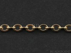 14k Gold Filled Oval Cable Chain Bright Polished 2 x by Beadspoint, $6.99