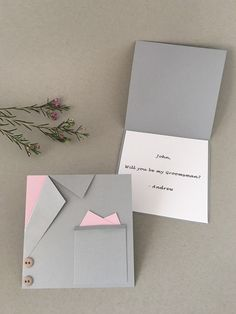 Gray Mens Suit Card - Wedding Invitation - Will you be my Best Man - Ask a Groomsman - Suit Card for men