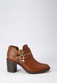 FOREVER 21 Buckle Zipped Booties