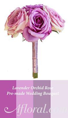 Lavender Orchid Purple Rose Bouquet, pre-made wedding flower bouquets #orchidpurple #weddingbouquet #afloral
