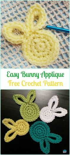 Crochet Amigurumi Rabbit Crochet Easy Bunny Applique Free Pattern-Crochet Bunny Applique Free Patterns - Crochet Bunny Applique Free Patterns: Easy and Quick Easter Bunny / Rabbit Applique and Motifs crochet pattern most free for Easter crochet decoration Crochet Applique Patterns Free, Easter Crochet Patterns, Crochet Motifs, Crochet Patterns Amigurumi, Knitting Patterns, Crochet Appliques, Sewing Patterns, Cat Amigurumi, Crochet Stitches