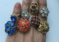 LOT OF 8 VINTAGE GLASS RHINESTONE COCKTAIL RINGS ADJUSTABLE SIZE