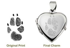 Send an ink print of a paw or nose and have it etched into a sterling silver pendant, ring, or other jewelry. This site also has other memorial objects such as urns and headstones. - Memorial Gallery Pets