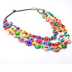 Colorful Ethnic Necklaces for Women //Price: $9.95 & FREE Shipping //     #woodcraft #etsy #accessories