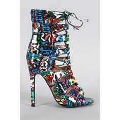 Liliana Graffiti Caged Lace Up Heel ($58) ❤ liked on Polyvore featuring shoes, pumps, laced shoes, laced up shoes, adjustable shoes, liliana footwear and caged shoes