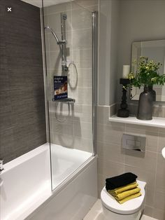 Most Popular Small Bathroom Remodel Ideas on a Budget in 2018 This beautiful look was created with cool colors, and a change of layout. Small Bathroom Suites, Master Bathroom Shower, Small Bathroom Storage, Family Bathroom, Bathroom Spa, Bathroom Toilets, Bathroom Design Small, Budget Bathroom, Bathroom Interior Design