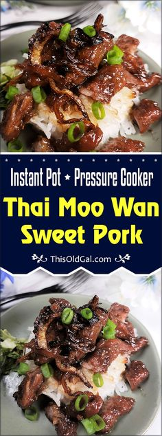 Pressure Cooker Thai Moo Wan Sweet Pork is a popular dish at Thai restaurants. The Caramelized Pork pairs well with Coconut Rice and a green tangy salad. Crispy Onions finish off the dish. Asian Recipes, Beef Recipes, Cooking Recipes, Healthy Recipes, Recipies, Thai Cooking, Thai Recipes, Cubed Pork Recipes, Fast Recipes