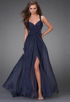 Marine blue chiffon gown