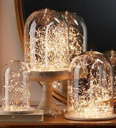 Create an ethereal, fanstasy look with LED Fairy lights. Use at the bottom of a vase in a floral arrangement, twist through your holiday mantle display to feature your stockings and holiday collectibles, put one under a glass dome to cre. Led Fairy Lights, Led String Lights, Tea Lights, Vase Lights, Twinkle Lights, Noel Christmas, Christmas Lights, Christmas Crafts, Xmas