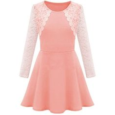 Plus Size Lace Patchwork Sweet Long Sleeve Skater Dress (20 AUD) ❤ liked on Polyvore featuring dresses, long dresses, skater dress, pink dress, women plus size dresses and lace dress