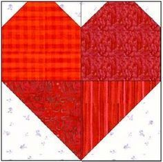 """Scrappy hearts quilt squares - would be very cute """"wonky"""" style. This tutorial includes all the math to make many different sizes of heart blocks."""