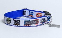 Owl Superheroes Ribbon Dog Collar by ScarletRedCollars on Etsy, $20.00