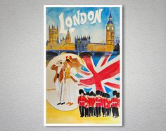 London England - Vintage Travel Poster Print, 1930 - Poster Paper, Sticker or Canvas Print  For Bulk Orders (minimum order 30 items) please contact us.