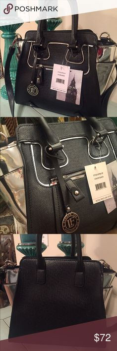 Authentic London Fog Black / Silver Handbag! ❤️ Authentic London Fog Black / Silver Handbag . Beautiful purse! It measures 14 x 12. It has a zippered pocket on front and inside along with different size pockets for cell phone, etc. Bag has silver on the sides and also trimmed in silver. Stunning❤️ Has the medal LF round hang tag on the front of it. Can be carried by the two handles or the long strap. Gorgeous bag! New with tags!! London Fog Bags Satchels