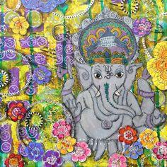 Ganesha-Mischtechnik-Collage, original OOAK-Wand-Kunst auf Leinwand, Yogaraum, Wohnkultur, bereit zum hängen, 12 x 12 Zoll Leinwand, hinduistische Kunst,
