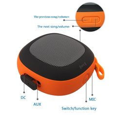 Leesentec NFC Connection Bluetooth Speaker Wired Wireless Spearker 2 Mode Usage With Microphone And Outdoor Hook Perfect For Home and Outdoor Use (Orange)