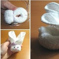 """<input class=""""jpibfi"""" type=""""hidden"""" >Here is a super easy and creative way to make an adorable bunny from a square towel! Simply roll up the towel along the diagonal into a tube, twist it to form bunny shape and then use ribbon or thread to secure… Bunny Crafts, Easter Crafts, Crafts For Kids, Sock Bunny, Cute Bunny, Diy Crochet Elephant, Bunny Napkin Fold, Towel Origami, Towel Animals"""