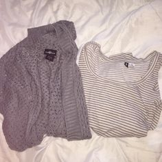 Urban Outfitters striped t and knit cardigan wide neck urban outfitters long sleeve t size small and long knit cardigan size xs NWOT Urban Outfitters Tops Tees - Long Sleeve