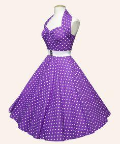 Vivien of Holloway, Purple Polka Dot Swing Dress, £69.99