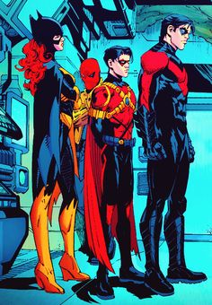 Batgirl, Red Robin, Red Hood and Nightwing look how small Tim looks omg how cute Batgirl And Robin, Nightwing And Starfire, Son Of Batman, Batman Family, Red Hood, Damian Wayne, Jason Todd, Catwoman, Tim Drake Red Robin