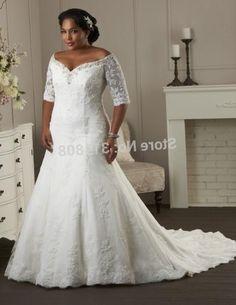 33a19c0ac44 Off Shoulder V Neck Trumpet Half Sleeve Lace Plus Size Wedding Dresses….  Off Shoulder V Neck Trumpet Half Sleeve Lace Plus Size Wedding Dresses…