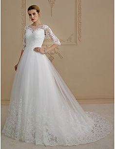 A-Line+Princess+Illusion+Neckline+Court+Train+Lace+Tulle+Wedding+Dress+with+Appliques+Buttons+by+LAN+TING+BRIDE®+–+USD+$+499.98