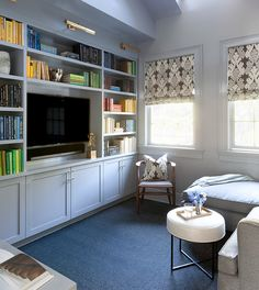 light blue built-ins, walls, and trim by Anna Burke Interiors