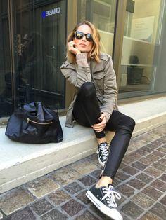 Army jacket+black+black converse...Anine Bing