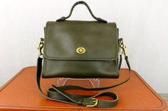 Vintage 70s Orange Leather Coach Satchel Bag Purse Bonnie Cashin Era