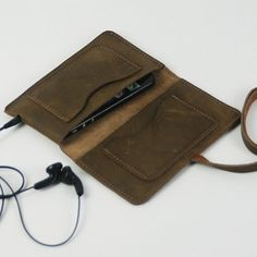 Leather iPhone 4 case with pocket Handmade iPhone5 by ihibag